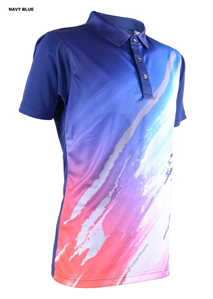 Unisex Outrefit Collared Polo T Shirt Sublimation Design RGT-MOF 3709 Navy Blue