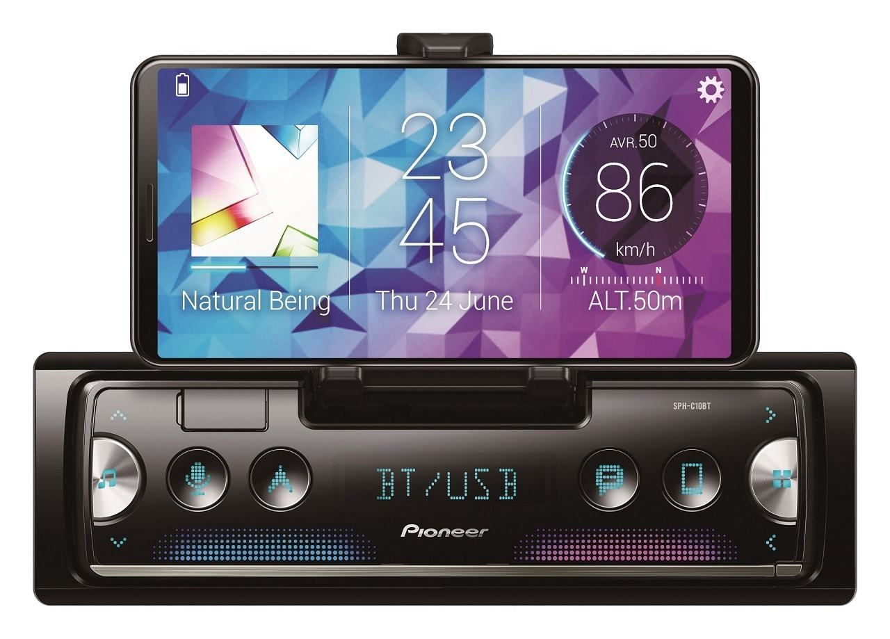 PIONEER SPH-C10BT 1-DIN SMARTPHONE  RECEIVER WITH CRADLE & SMART SYNC