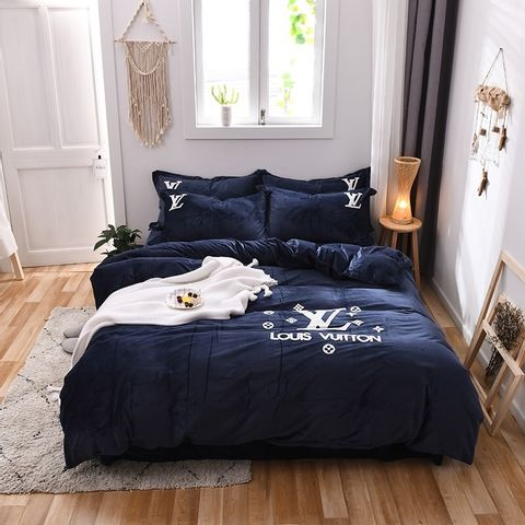 LV Double-Sided Milk Crystal Four-Piece Quilts BLUE USD116.jpg