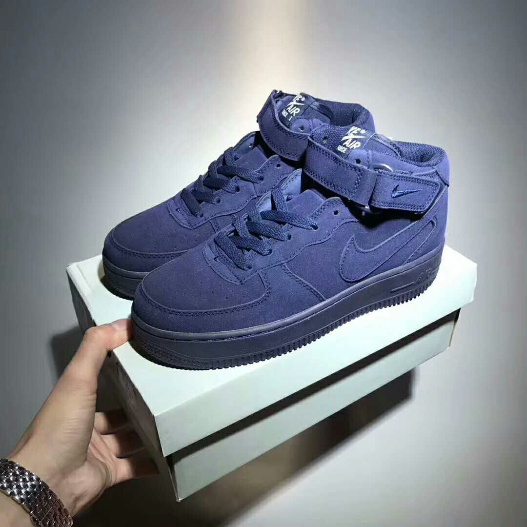 100% authentic f97c4 11c96 Nike Air Force Furry Dark Blue