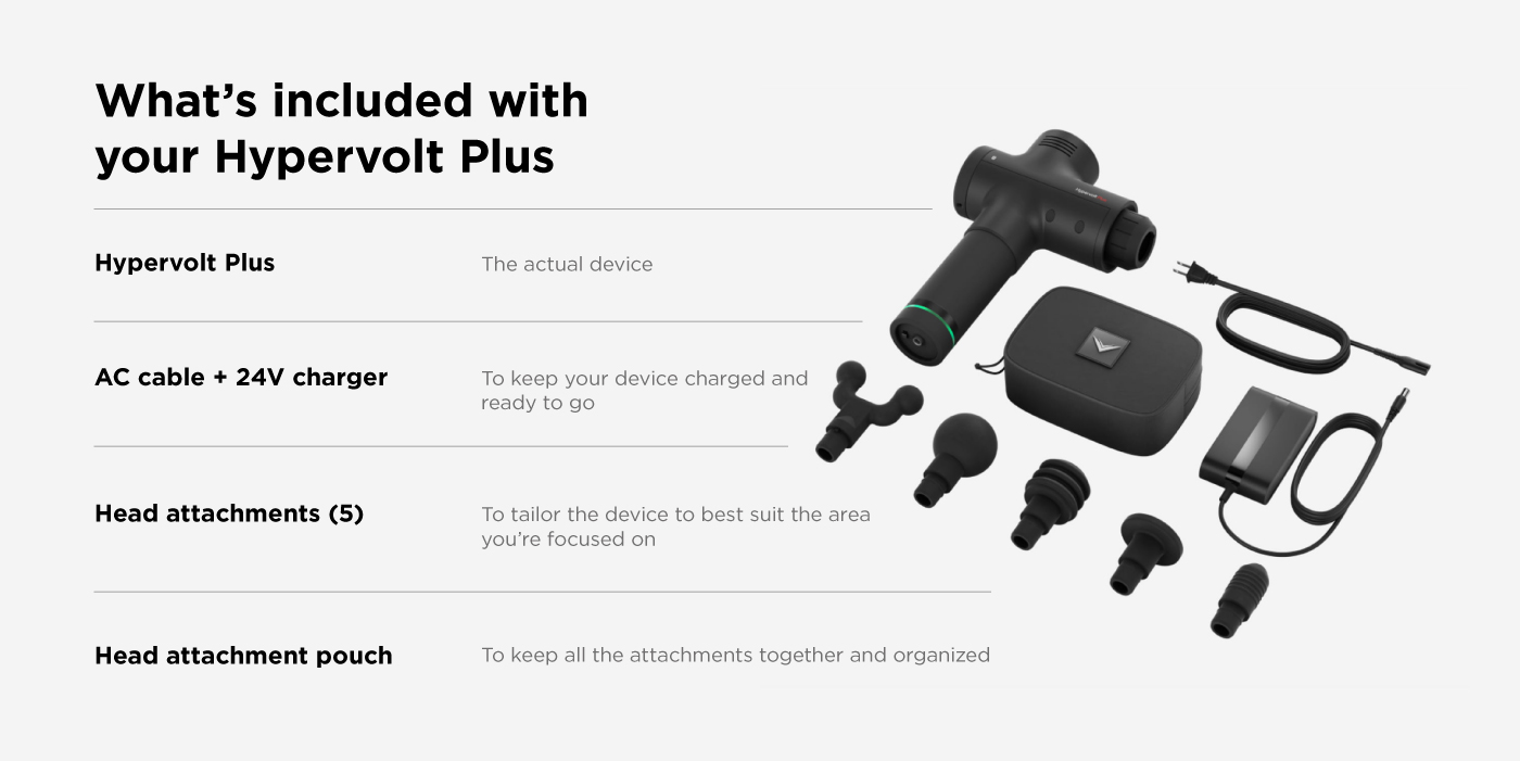 Hypervolt Plus Massage Gun. Seriously strong, aesthetically sleek, and unbelievably quiet - it's the added boost your muscles need.