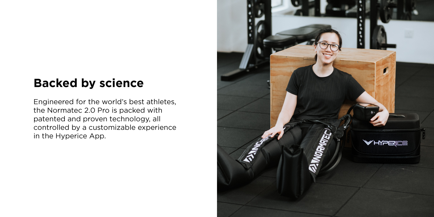 Engineered for the world's best athletes, the Normatec 2.0 Pro is packed with patented and proven technology, all controlled by a customizable experience in the Hyperice App.