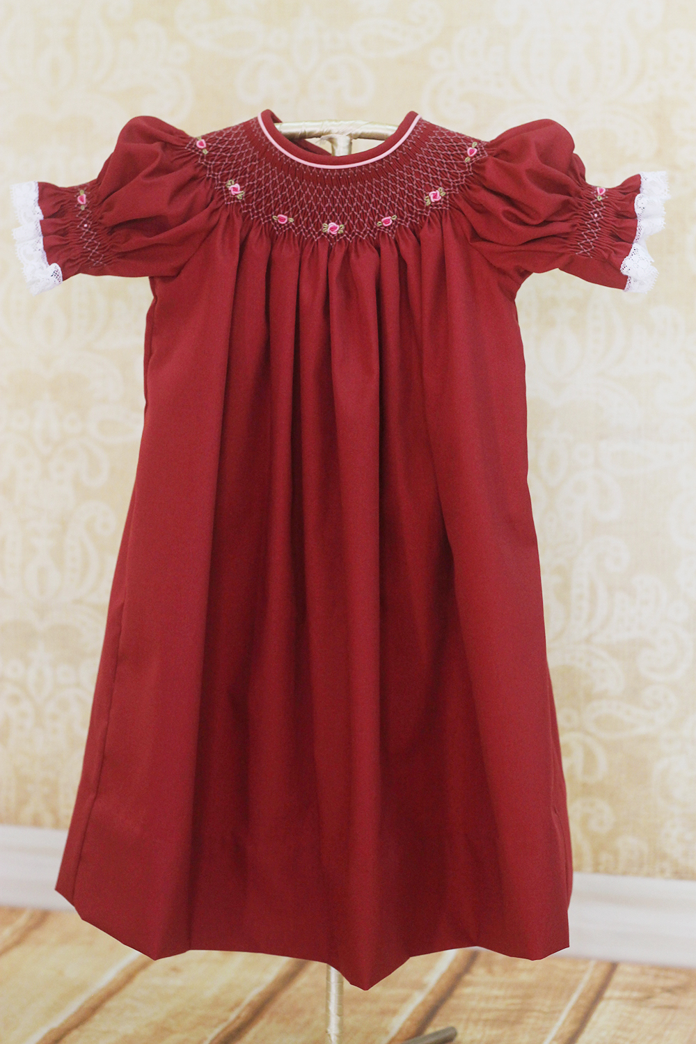 7f4adab1e PRE-ORDER - Maroon smocked bishop with without bloomer