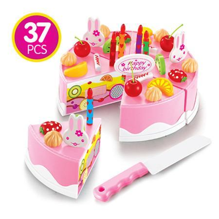 (37 PCS) Kids Kitchen Birthday Party Cake Cutting Play Pretend Funny House
