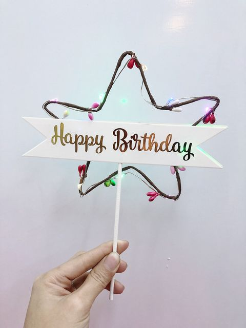Happy Birthday Stick with Colorful LED