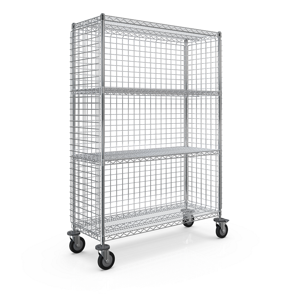 WEB - SMT 3-SIDED ENCLOSURE CART 450x1210x1613 - 4 WIRE SHELF.png