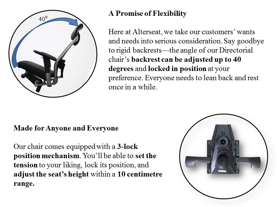 alterseat.com presidential product features. office chair ergonomic chair desk chair. alterseat copyright