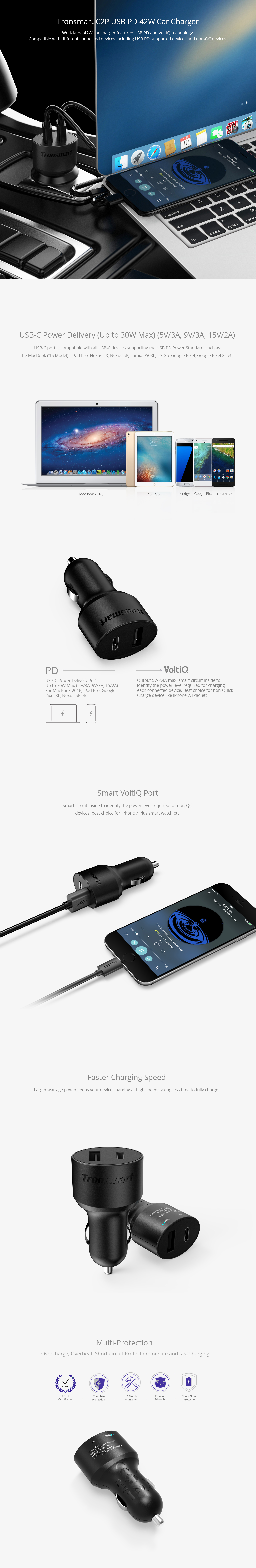 Tronsmart C2P USB C Dual Port Car Charger with Power Delivery (42W)