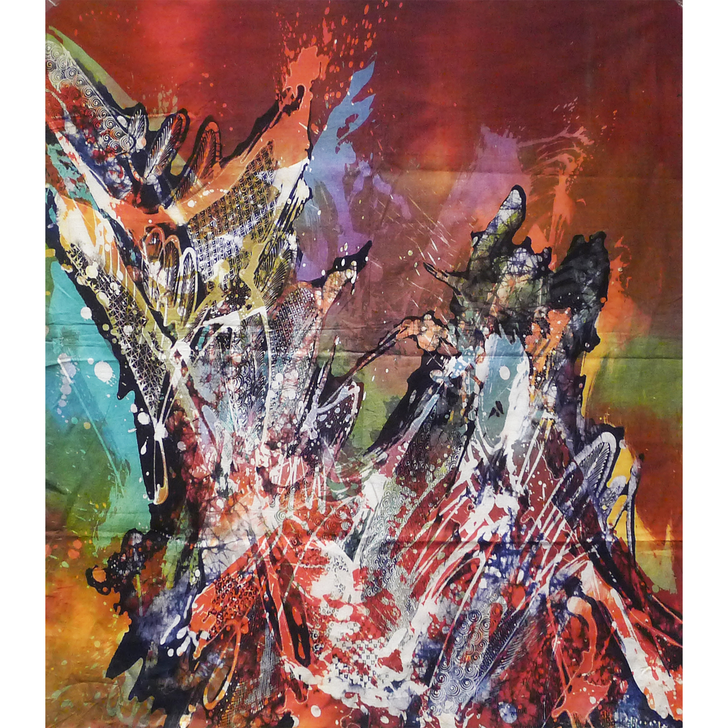 Hawaiian Reef, 1970s, Batik Painting on Cotton, 89x89cm.jpg