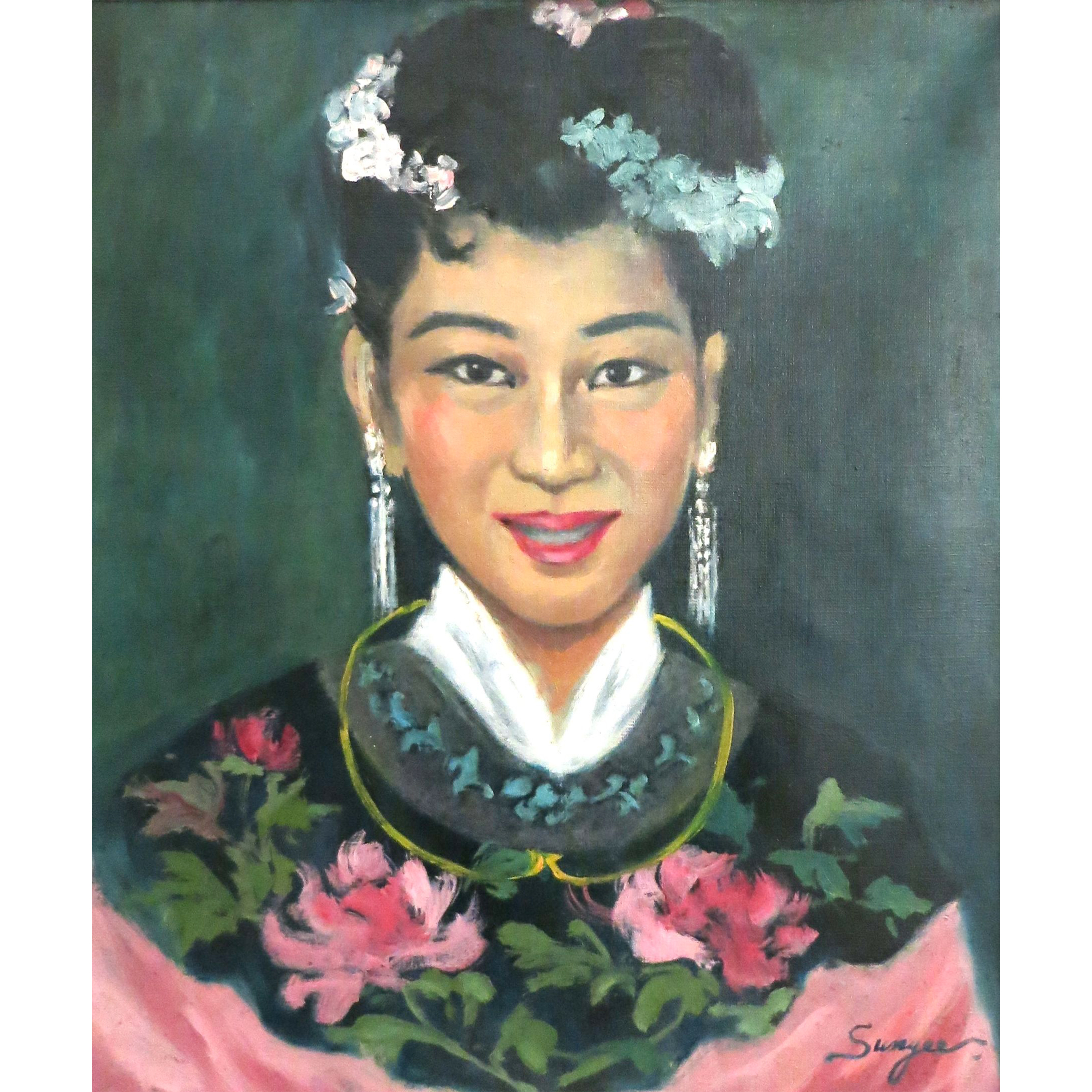Portrait of Christina Loke in Chinese Attire, c.1950, Oil on Canvas, 46 x 54 cm.jpg