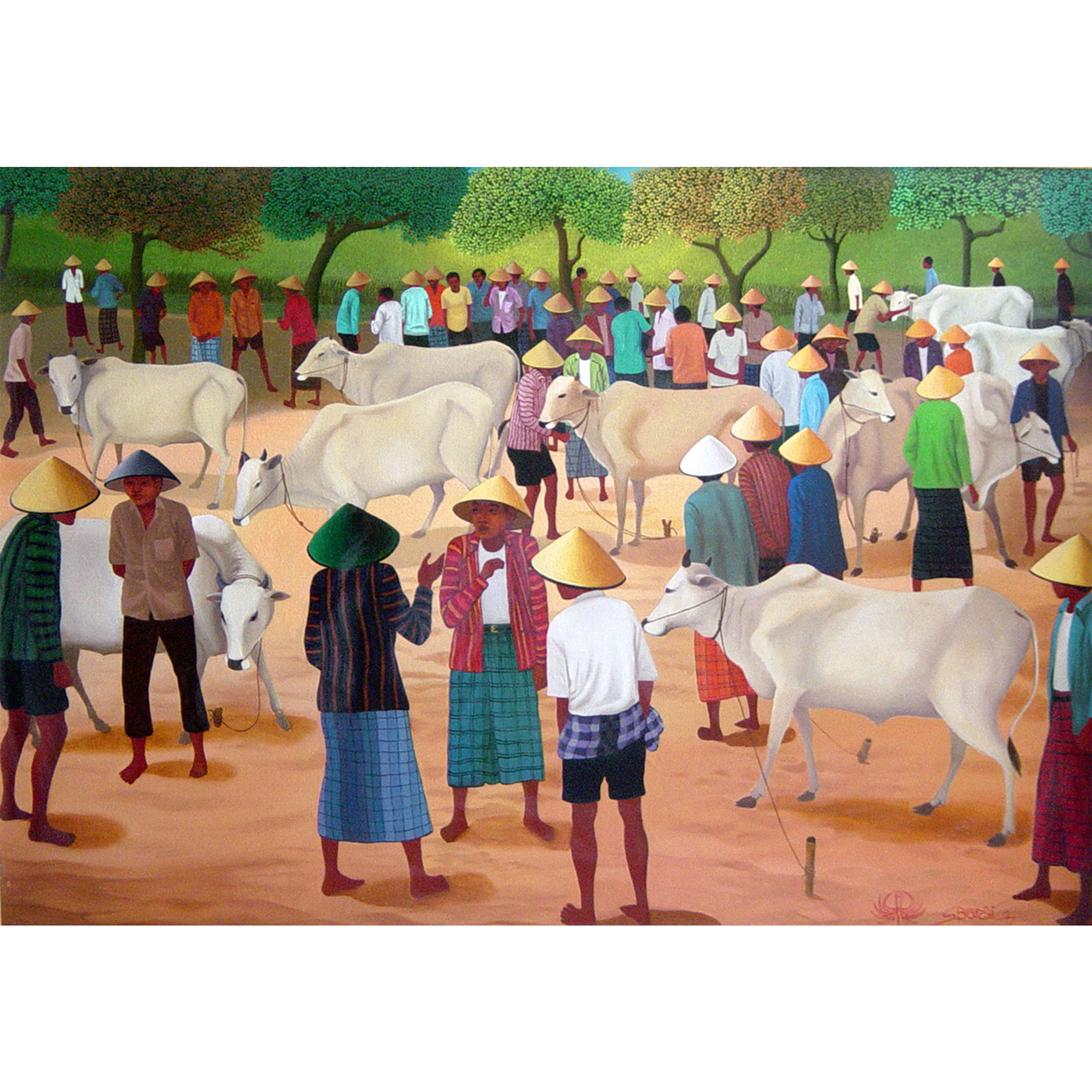 Cow Market, 1997, Oil on Canvas, 90x130cm.jpg