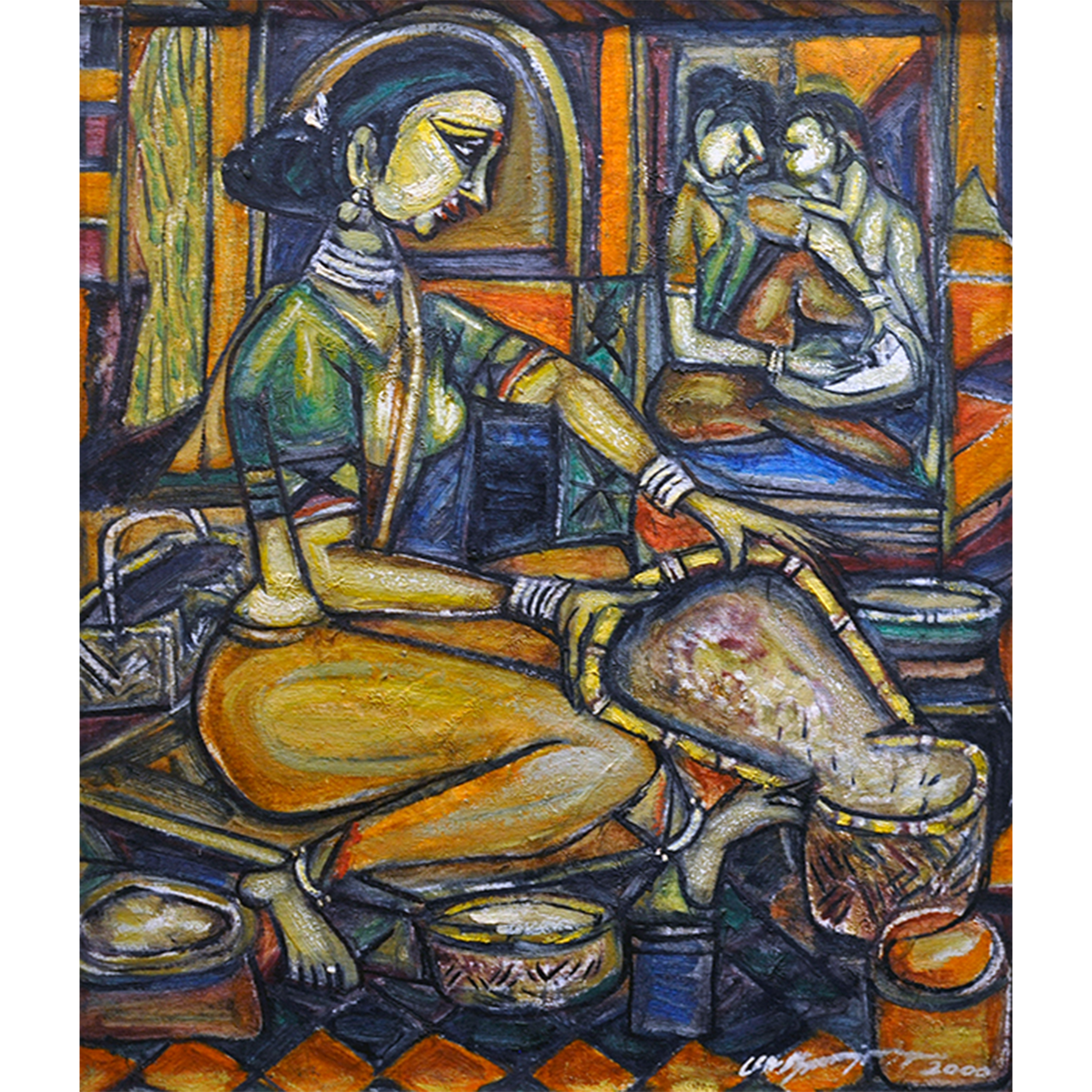 Village Life, 2003, Oil on Canvas, 58 x 65 cm.jpg