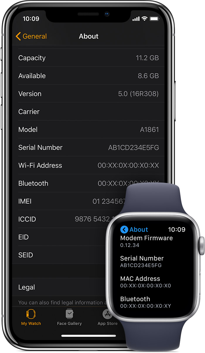 About screen on iPhone and Apple Watch.