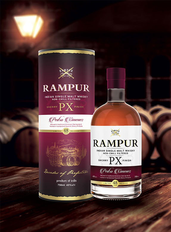 RAMPUR PX SHERRY CASK LIMITED RELEASE WITH CANNISTER 70CL/45%