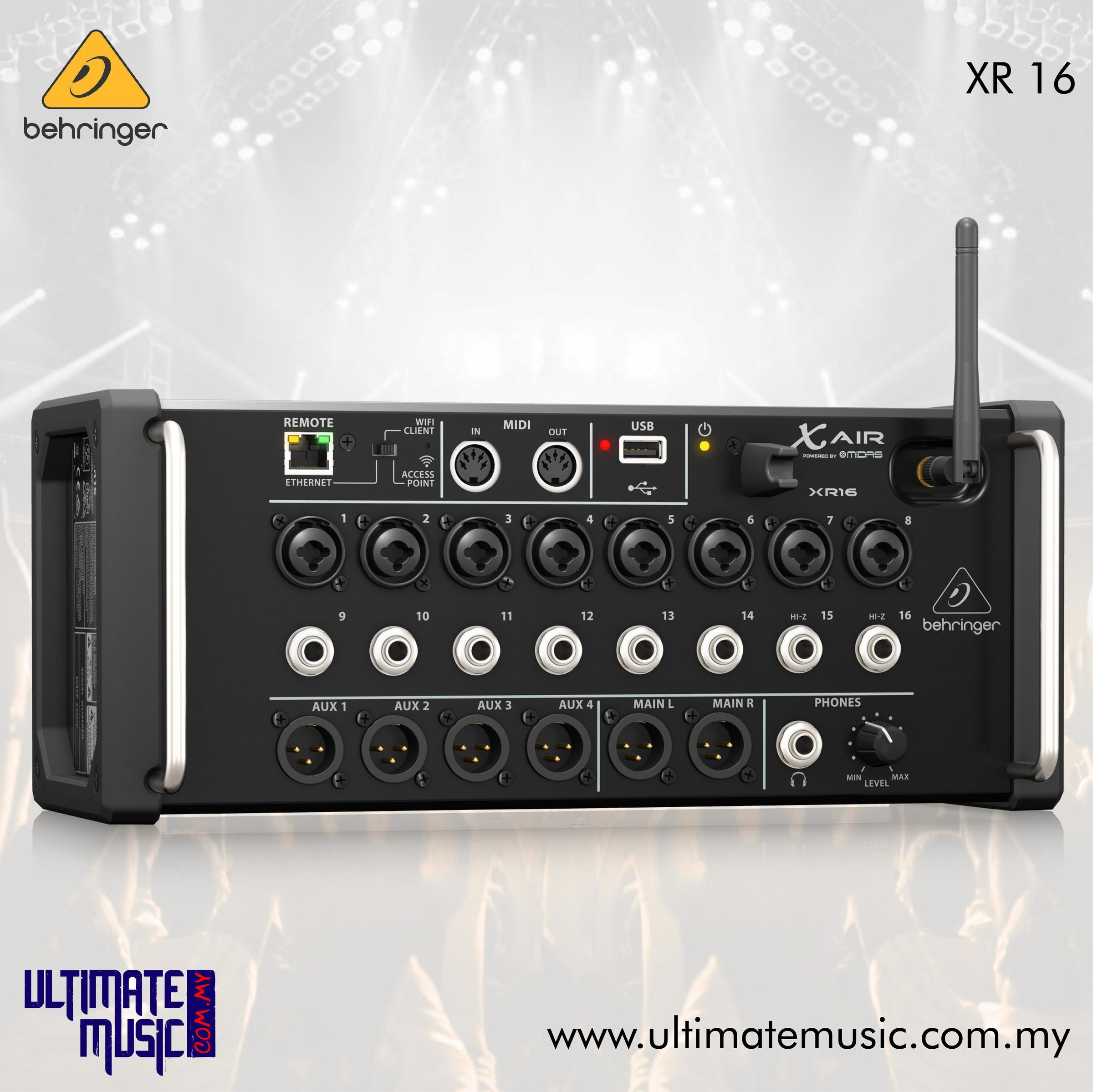 Behringer X AIR XR16 16-Input Digital Mixer for Computer and Tablets