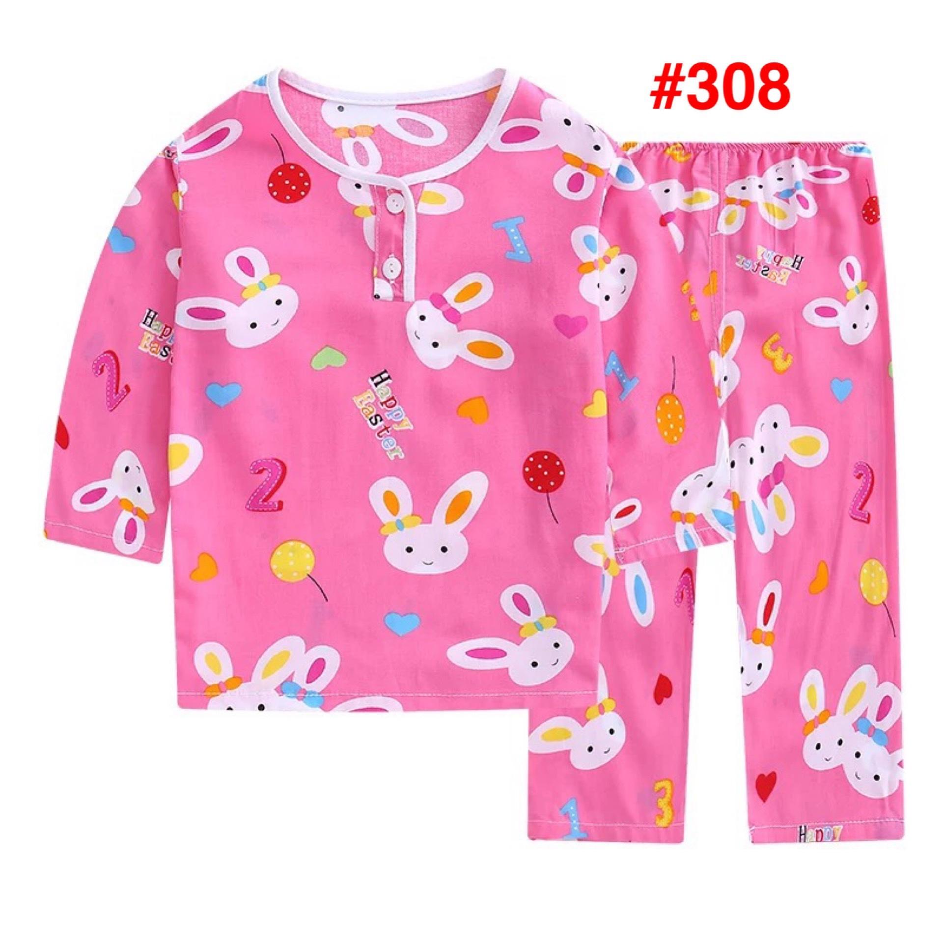 Baby Unisex Pajamas Suit 夏季儿童绵绸睡衣男童女童薄款家居服小孩子宝宝夏天棉绸长袖套装
