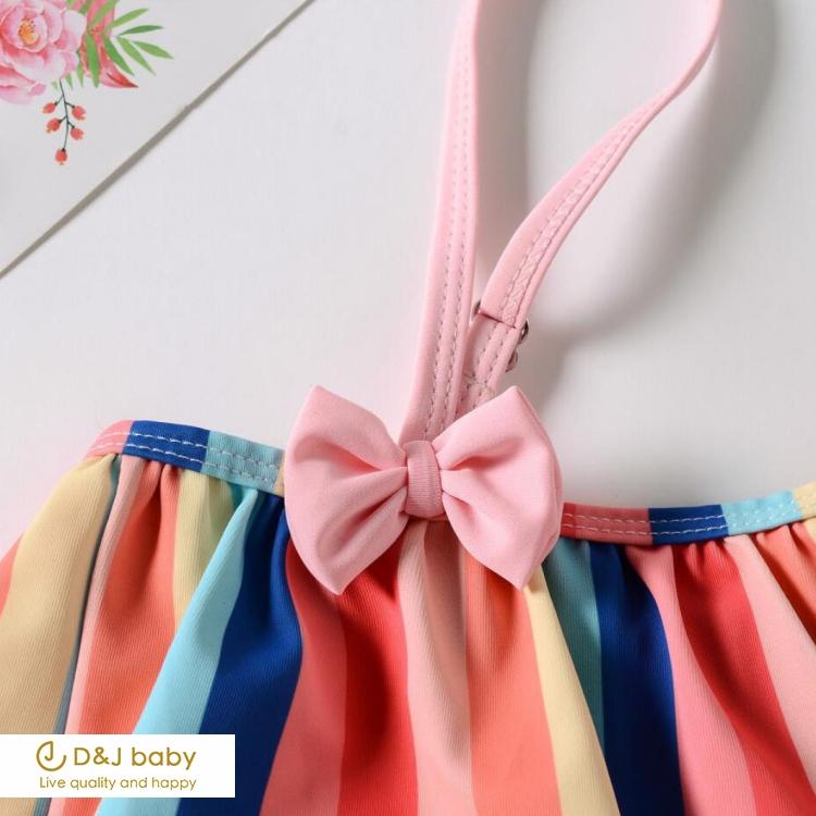 彩虹條紋女童泳裝 - D&J baby