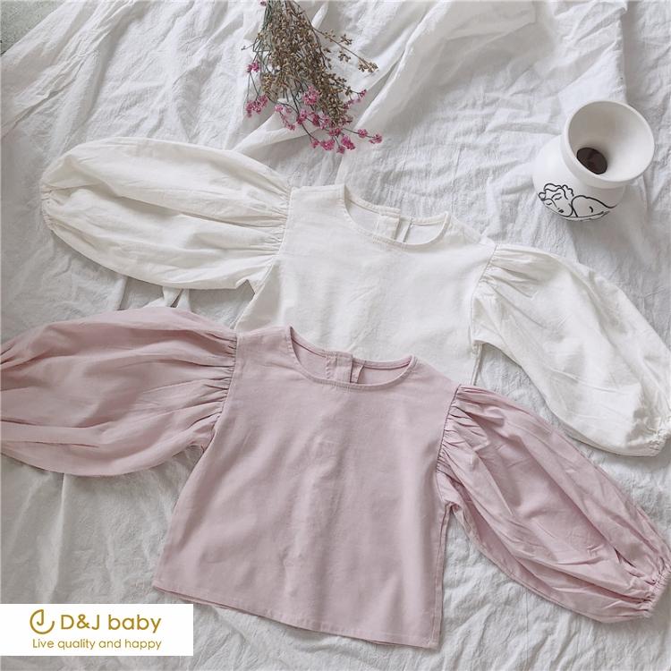 棉麻燈籠袖短款上衣 - D&J baby