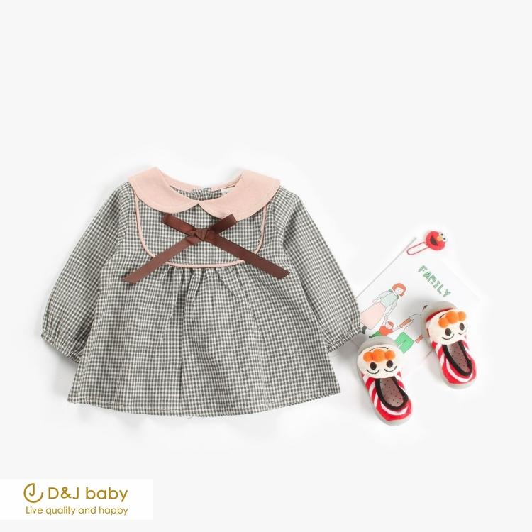 娃娃領格子長袖連衣裙 - D&J baby
