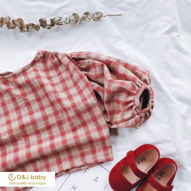 格紋泡泡袖娃娃衫 - D&J baby