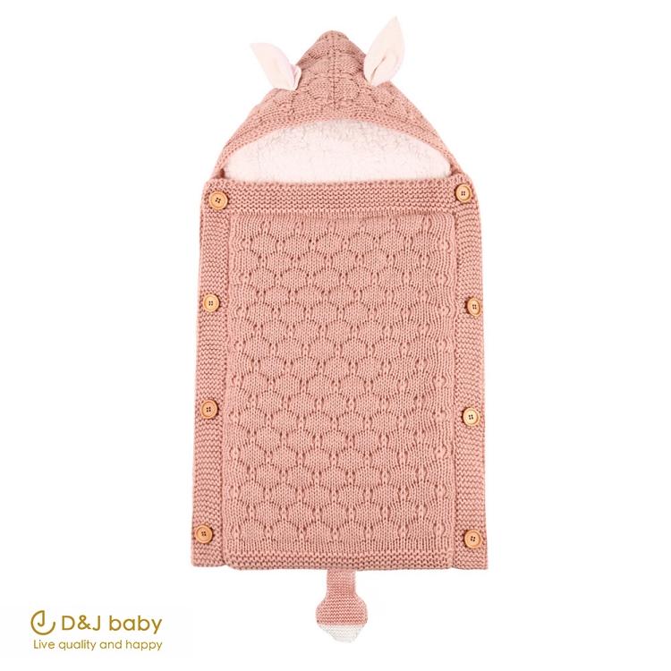針織加絨兔耳睡袋 - D&J baby