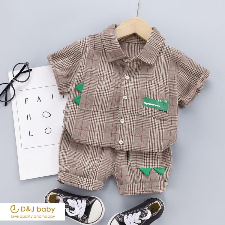 恐龍格子襯衫套裝-D&J baby-11.jpg