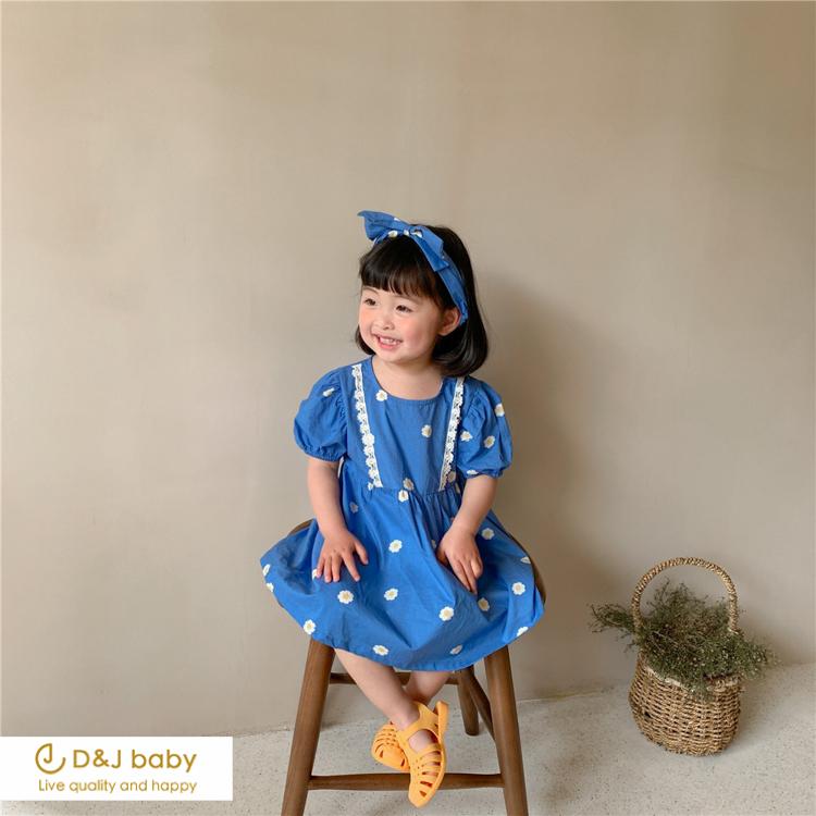 黃藍公主袖洋裝+髮帶 - D_J baby-3.jpg