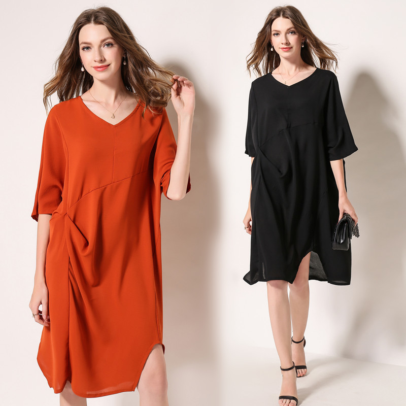 Cotton & Linen Cropped Sleeve Loose Dress