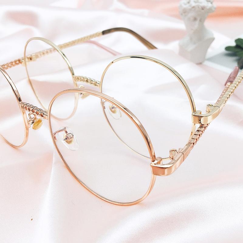 G-030 女款 金屬框/圓框/帶鍊條 防藍光眼鏡