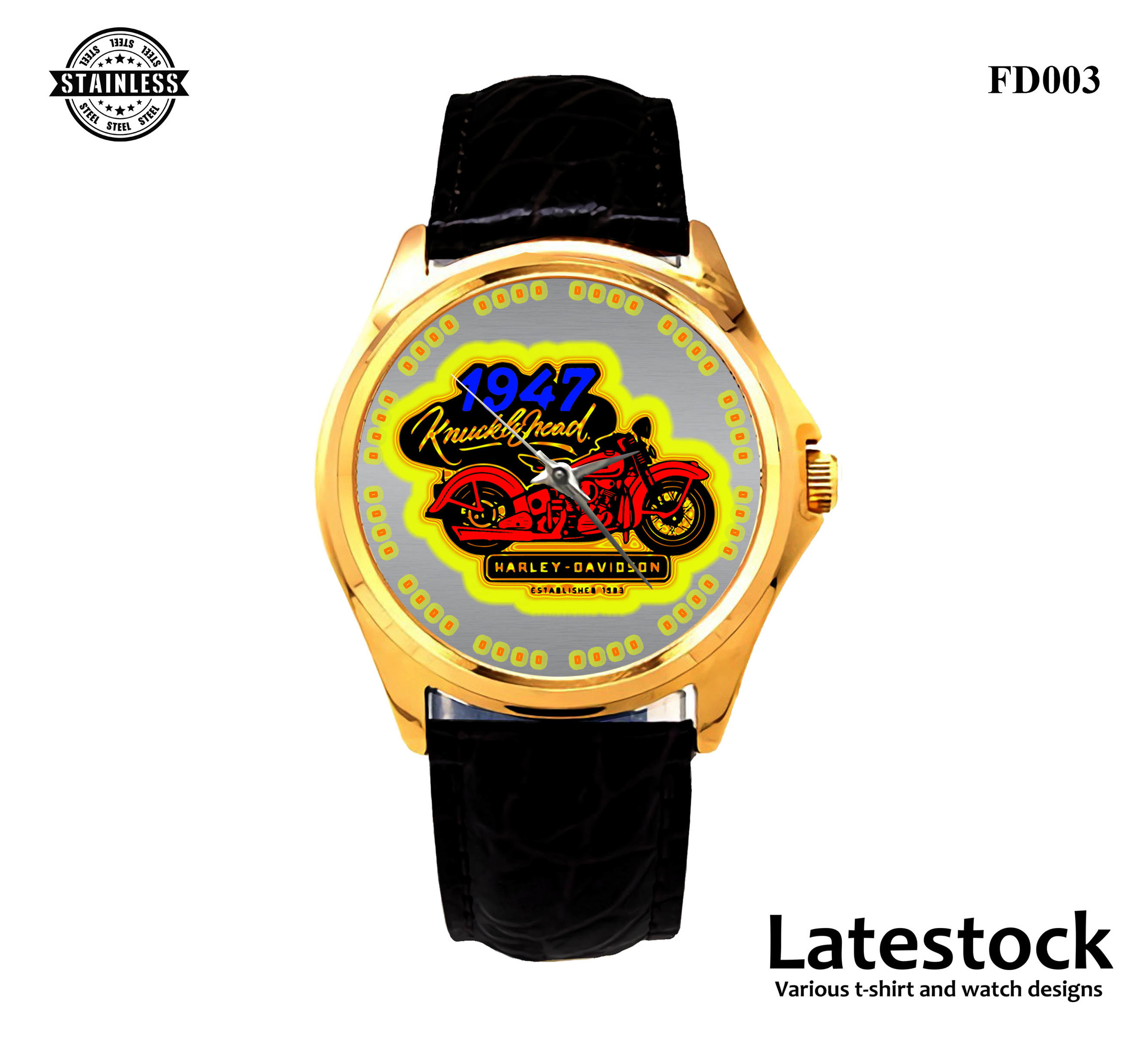 RARE!!! HARLEY-DAVIDSON-MOTORCYCLE-SPORT-METAL-WATCHES LEATHER BAND GOLD.jpg