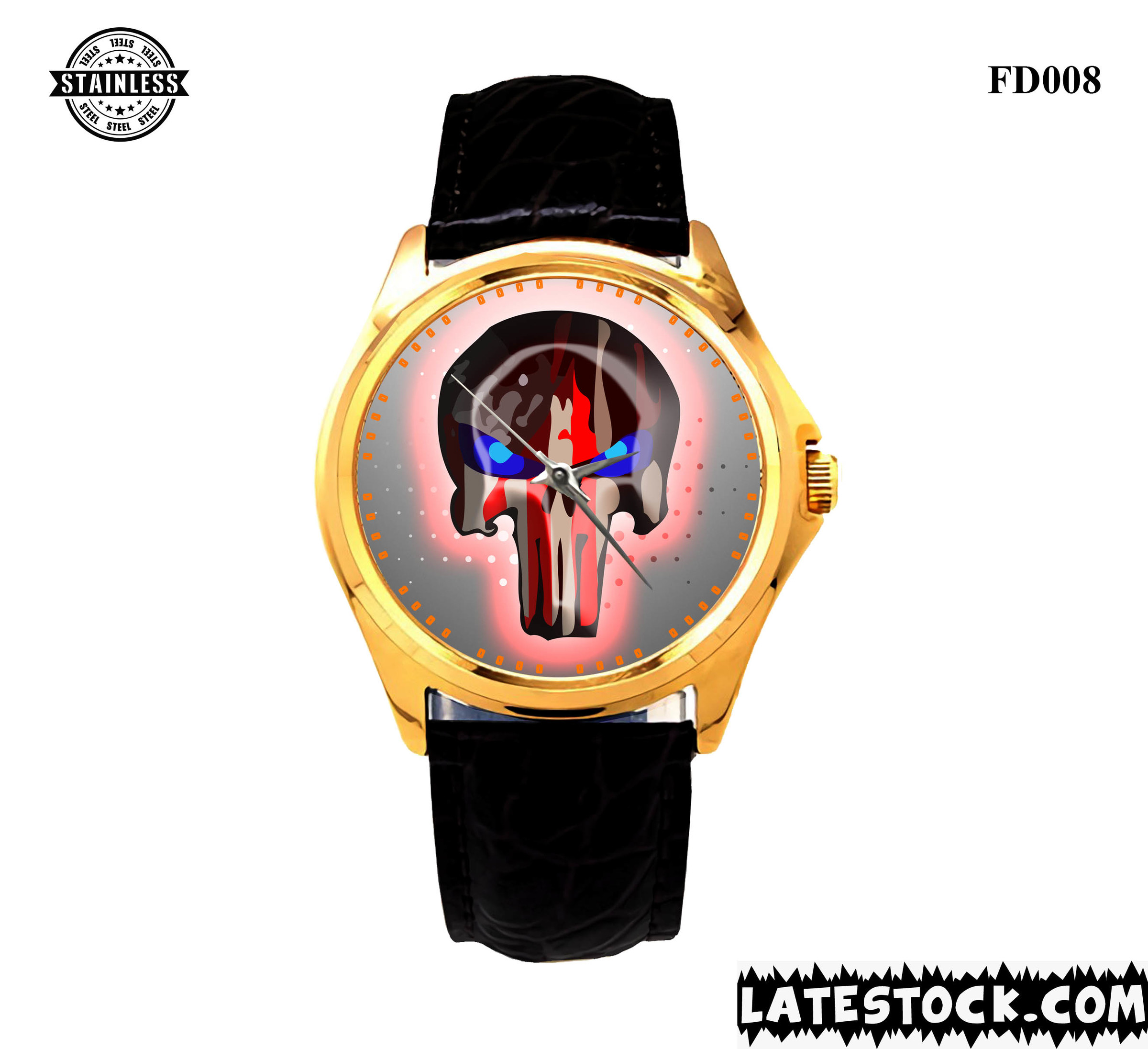 NEW LIMITED EDITION !!! Harley-Davidson-Skull-Logo-Sport Metal Watches leather band gold.jpg