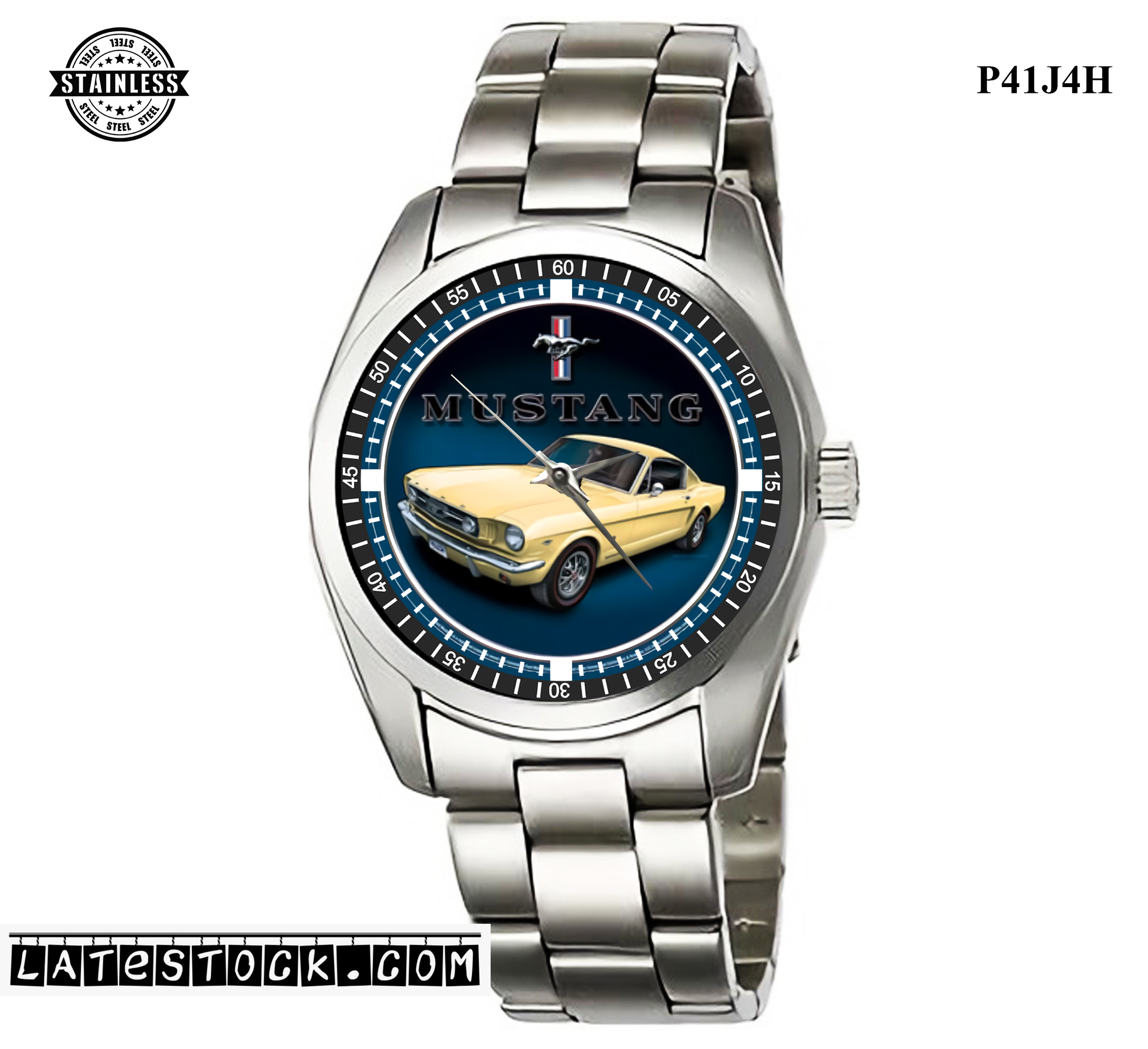 1.6LIMITED EDITION!! Sign, Round, Yellow Mustang Diameter Sport Metal Watch b.jpg