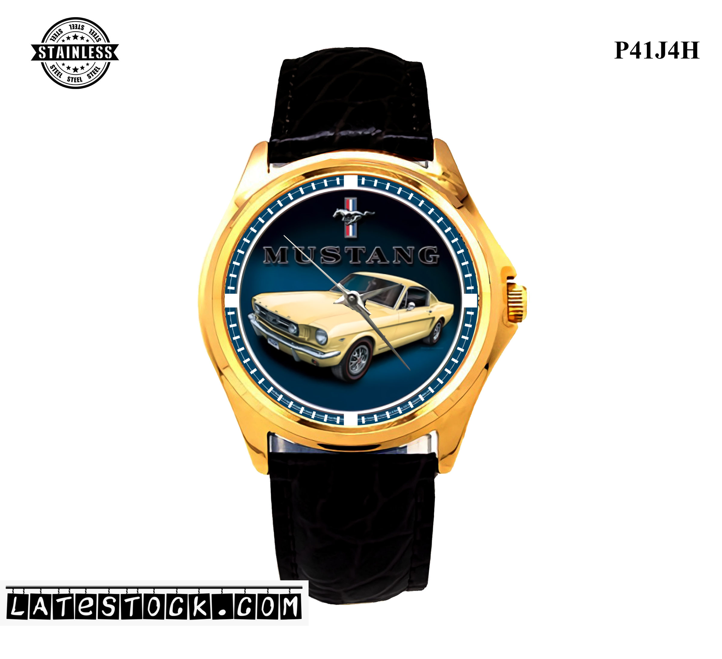 1.6LIMITED EDITION!! Sign, Round, Yellow Mustang Diameter Sport Metal Watch.jpg
