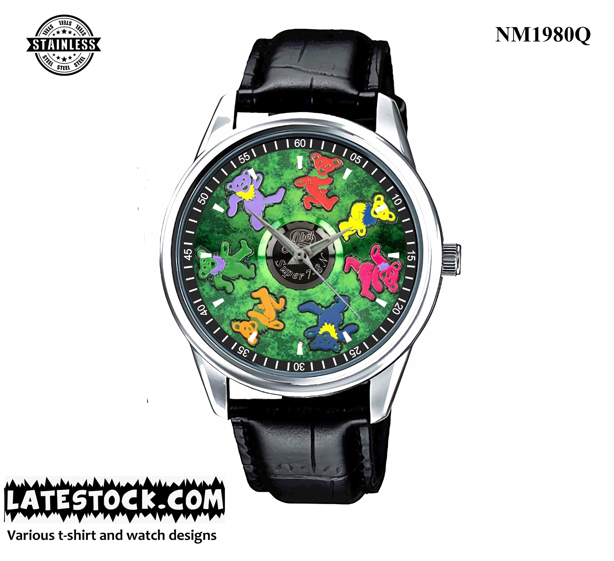 3.2 RARE..!!!final design dancing bear in our collectable Grateful Dead abel sport leather watch silver.jpg