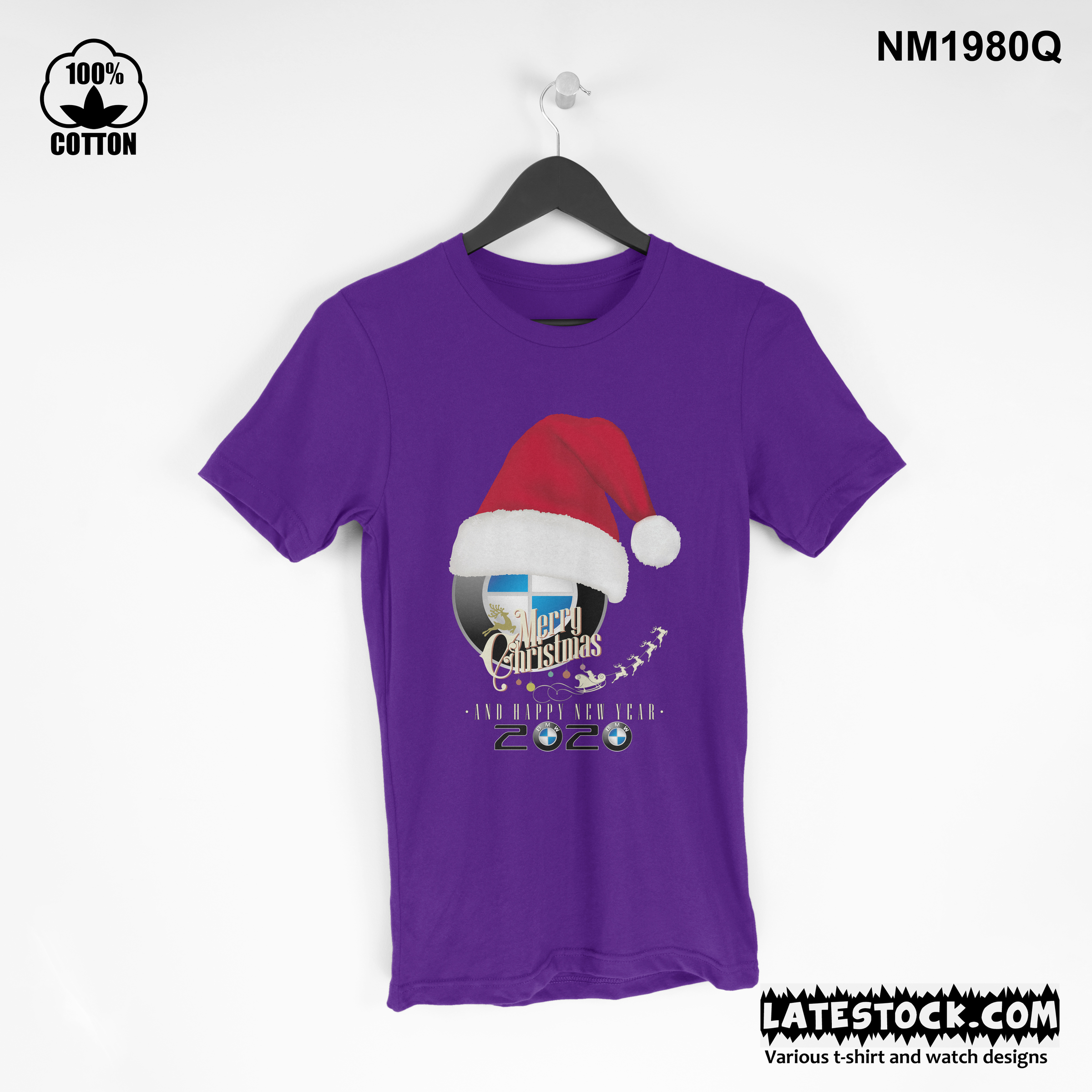 1.30 new Design BMW cristmas and new year t shirt Tee best gift blue violet.jpg