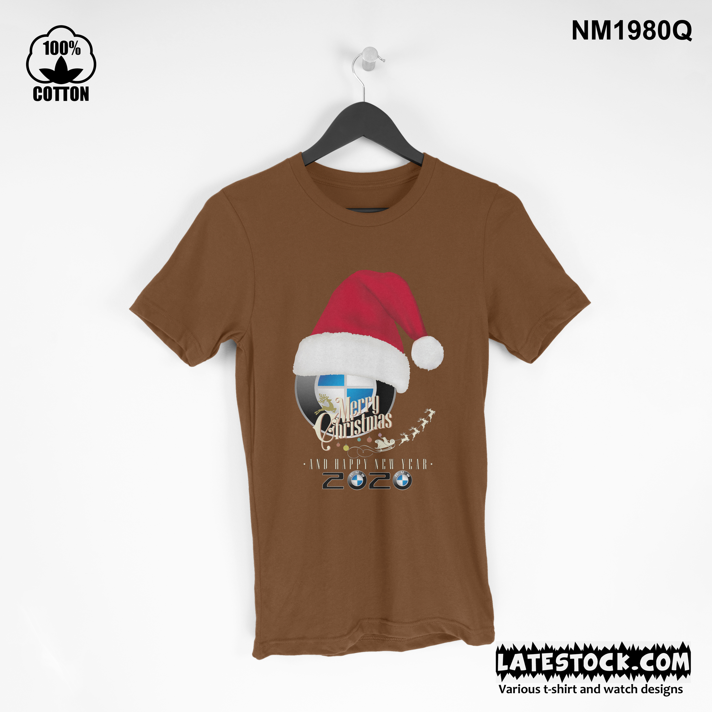 1.30 new Design BMW cristmas and new year t shirt Tee best gift saddle brown.jpg