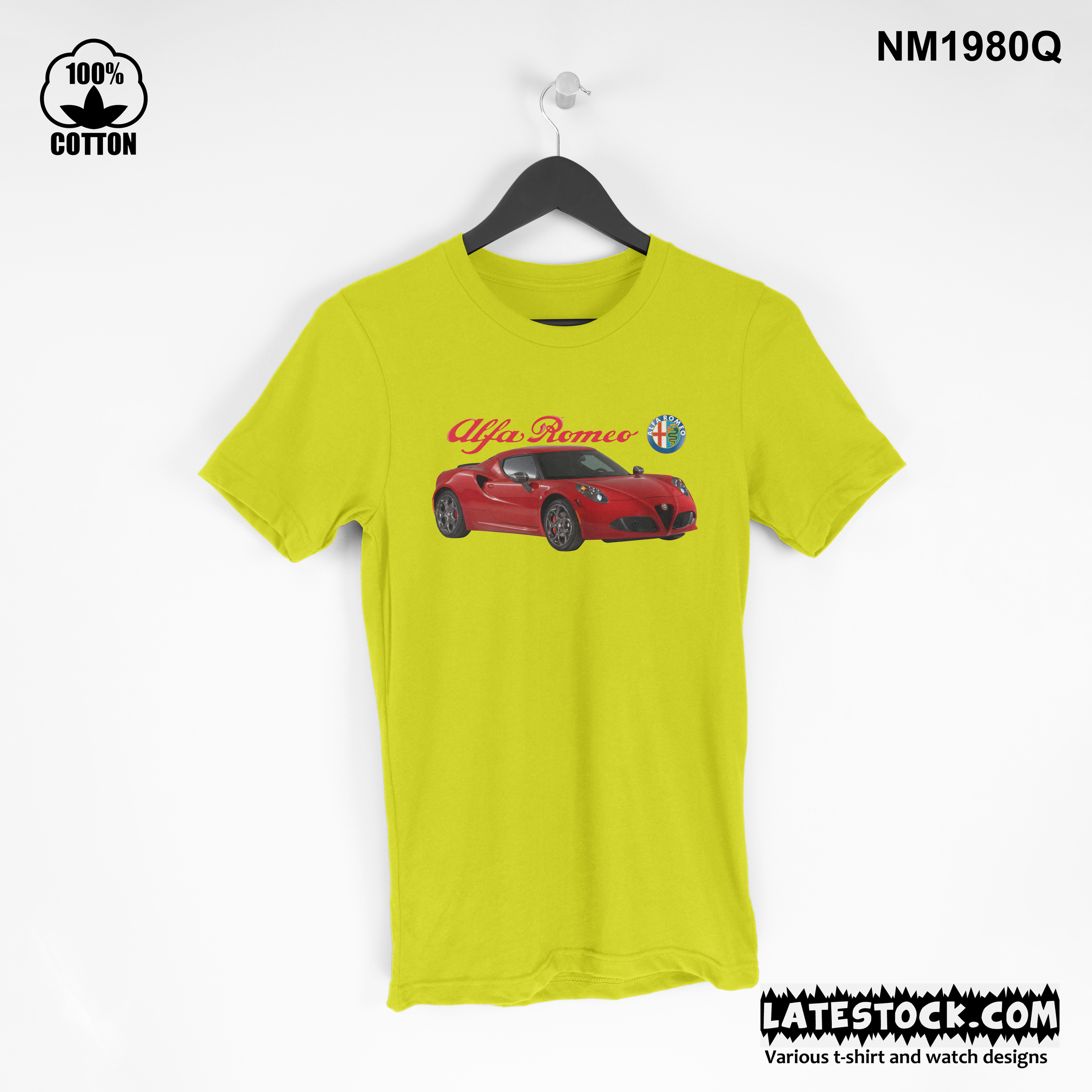 1.6 rare item, new design Alfa Romeo 4C T Shirt Tee Unisex yellow.jpg