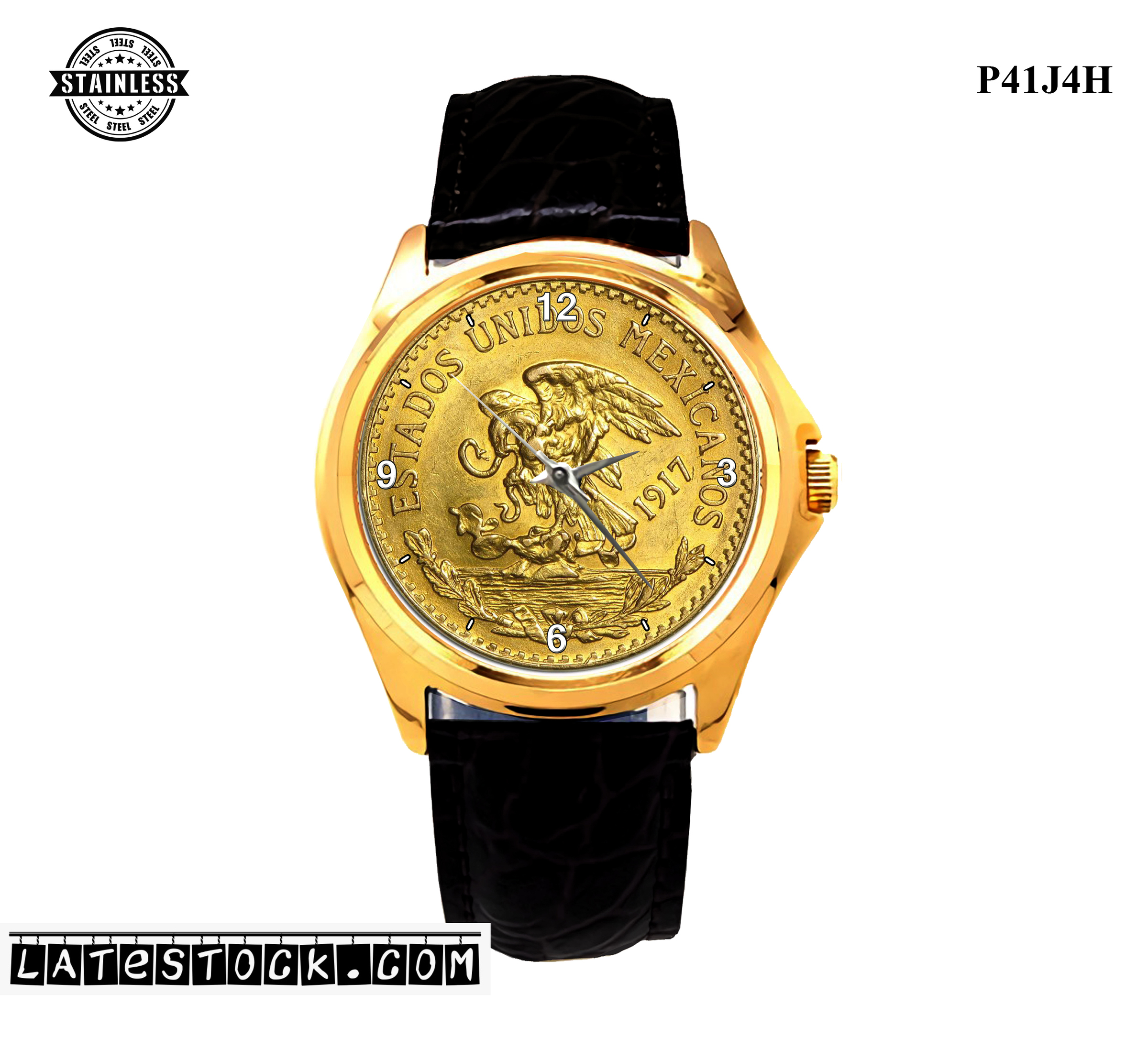 LIMITED EDITION!! 1917 Mexico Gold 20 Pesos Mexican Sport Metal Watch.jpg