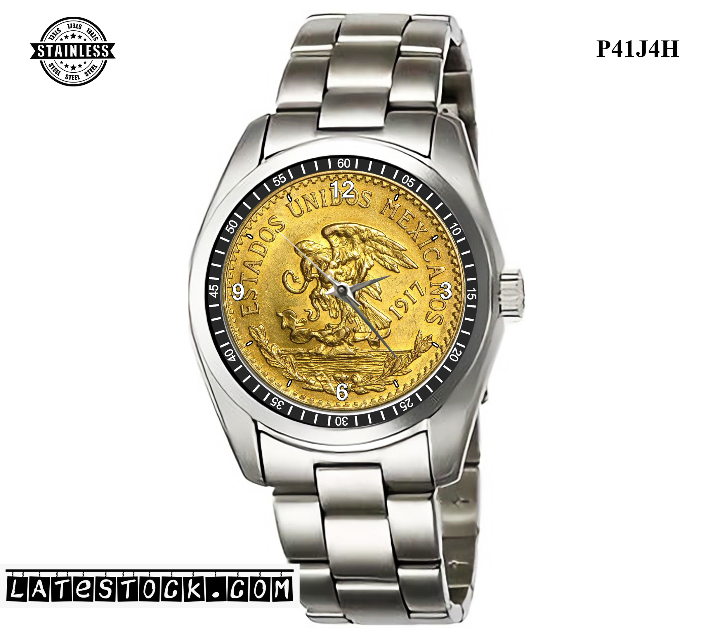 PJ09 LIMITED EDITION!! 1917 Mexico Gold 20 Pesos Mexican Sport Metal Watch a.jpg