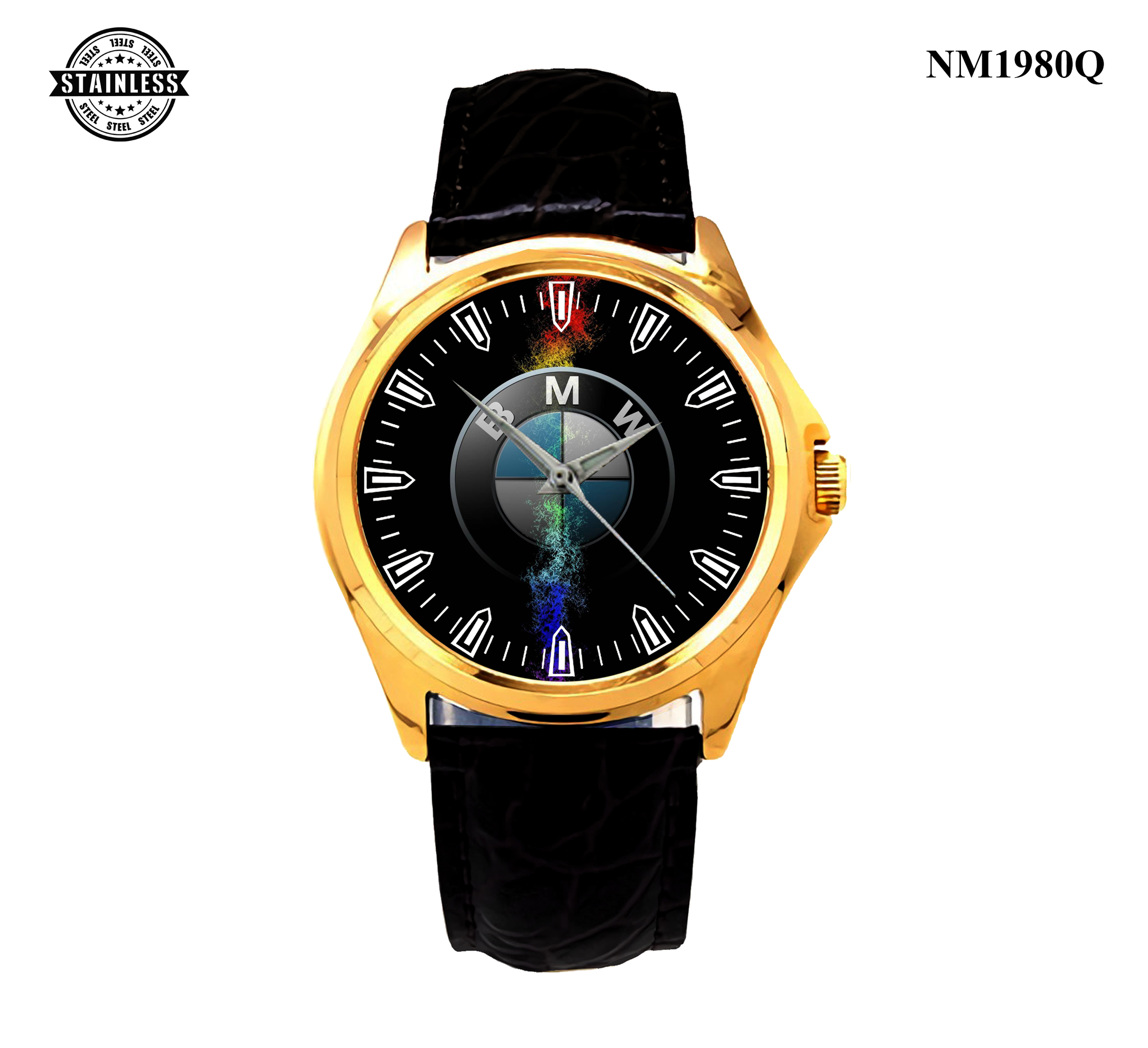 1 New Design Mens jewelery BMW M6 Logo Men's Accecoris SPORT LEATHER WATCH Gold.jpg