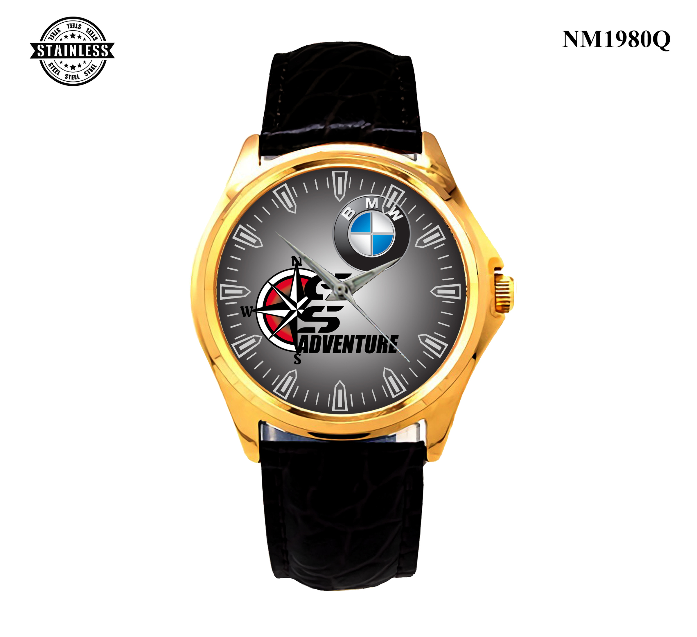1.10 Mens Jewelery BMW GS ADVENTURE Sport Logo Rare Item Sport Leather Watch Gold.jpg
