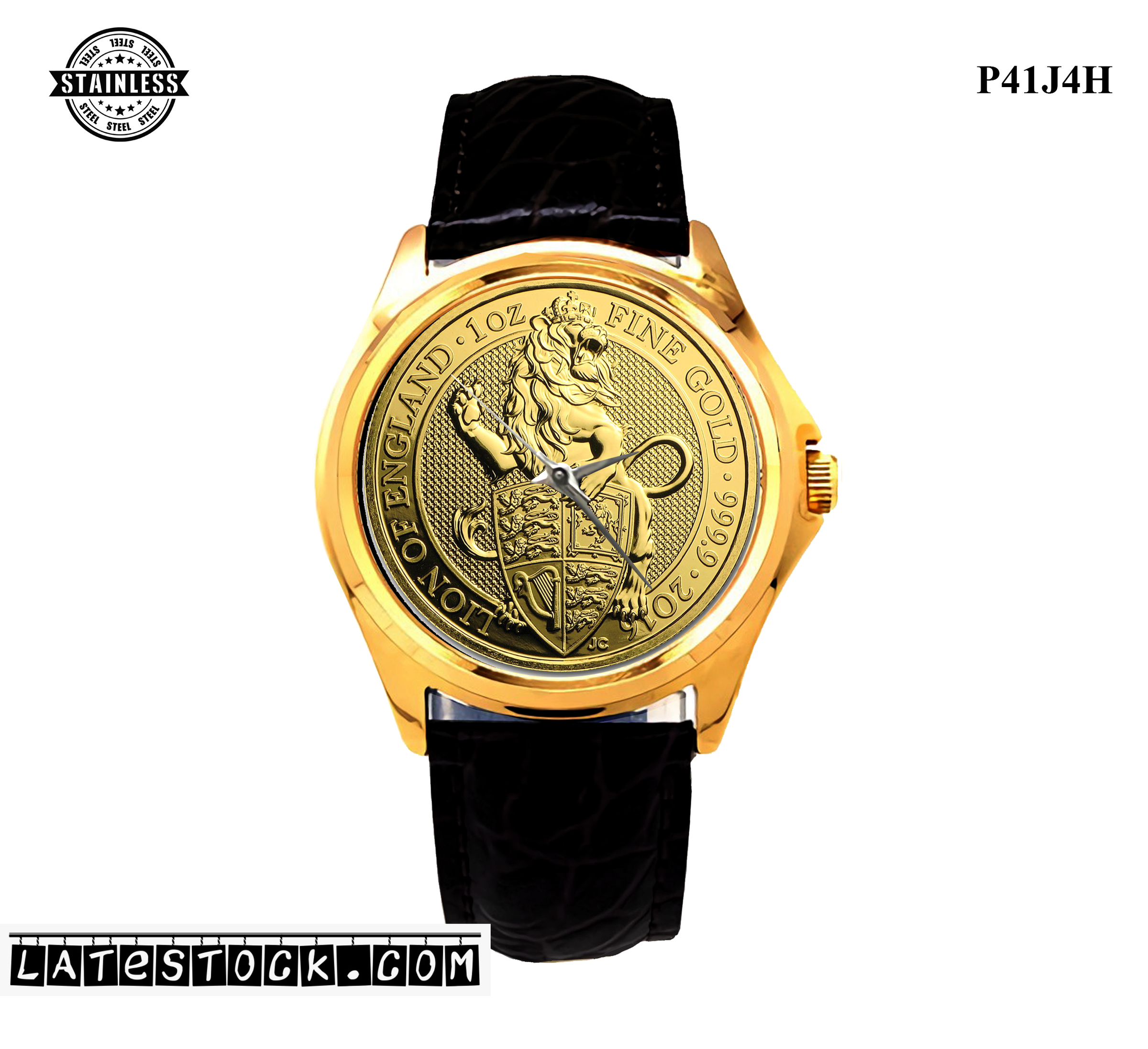 LIMITED EDITION!! Gold The Lion Queen's Beasts Great Britain 1 oz Coins Sport Metal Watch b.jpg