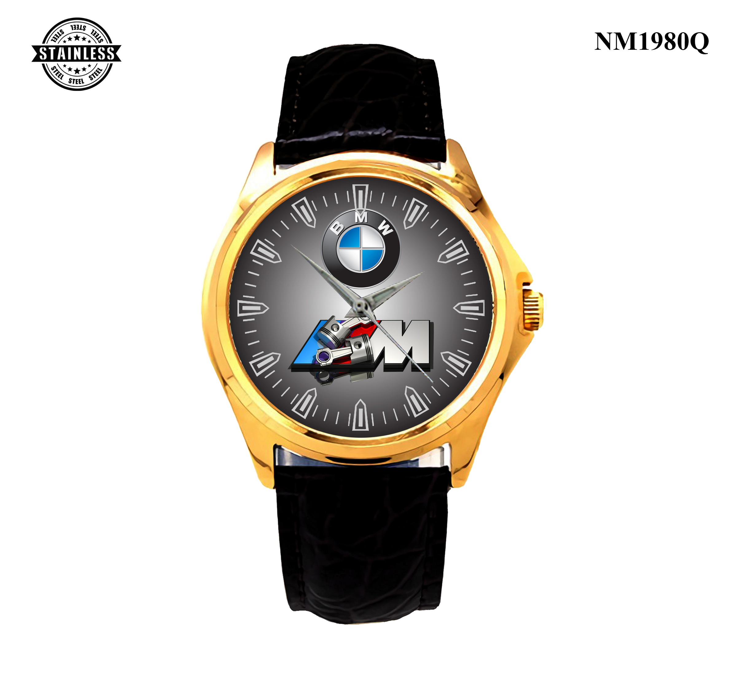1.18 New Item Mens Jewelery bmw m3 logo power Sport Leather Watch Gold.jpg