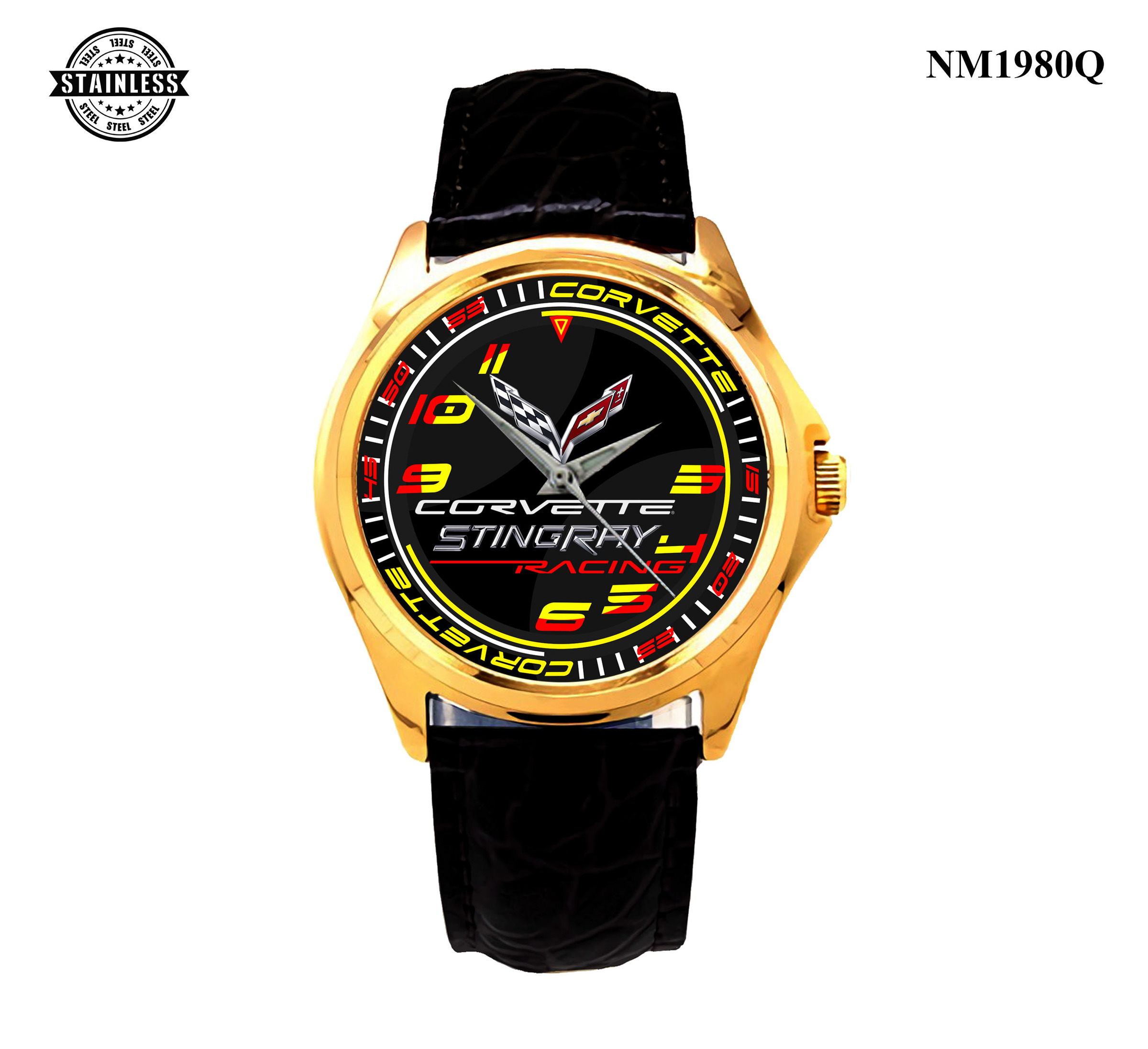 1.5 new item mens Jewelery CORVETTE STINGRAY RACING best gift sport Leather watch Gold.jpg