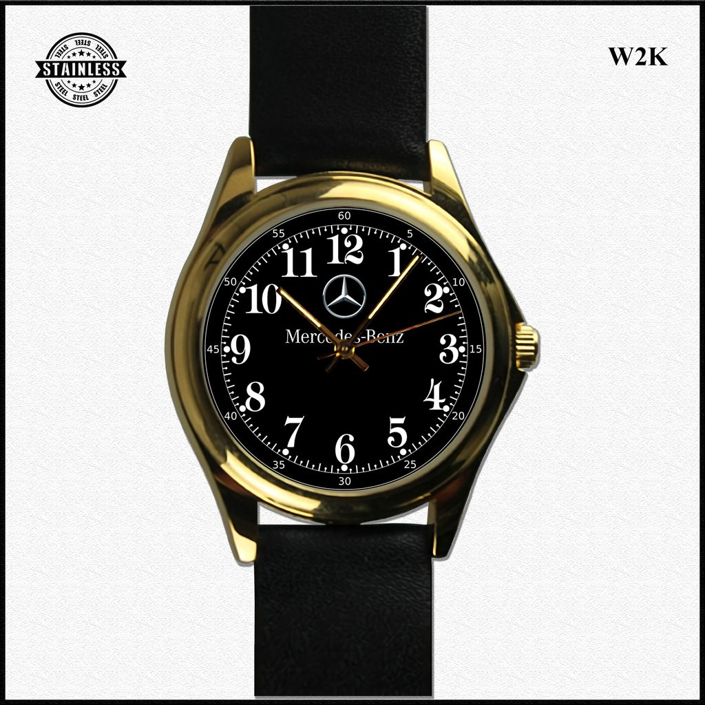 1. Hot Rare Mercedes Benz Mens Stainless Black Steel Leather Gold Sport Watch.jpg