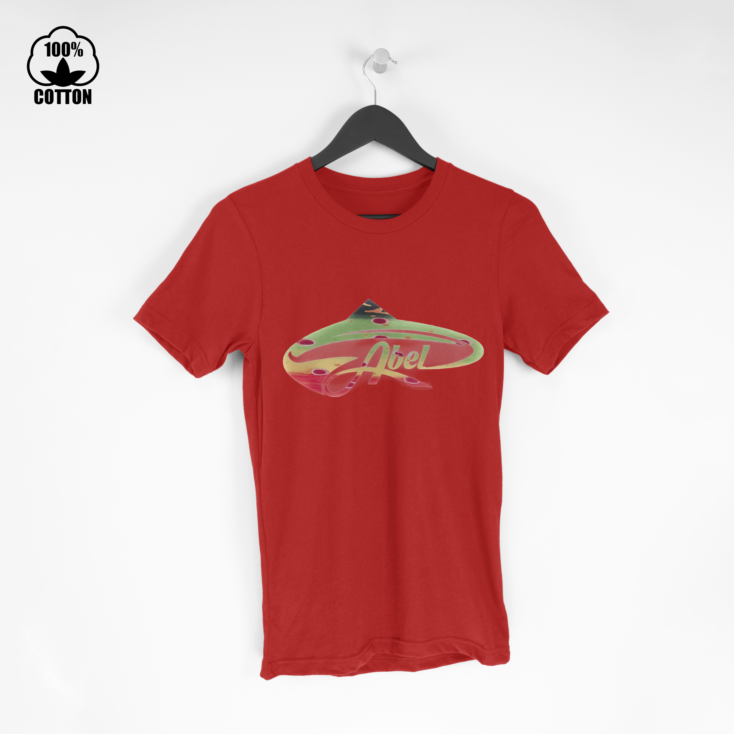 LIMITED EDITION!! ABEL fish logo T Shirt Tee Red.jpg
