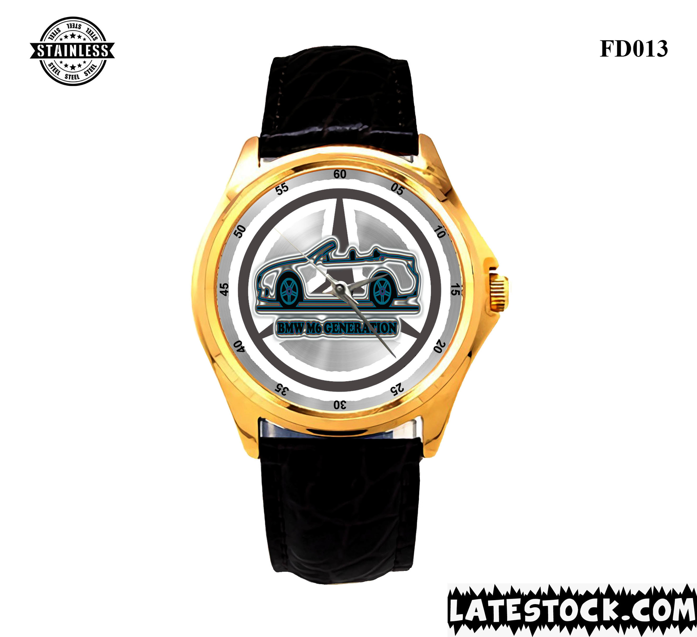 NEW !!! Limited Edition Mercedes Benz M6 Generation logo sport metal watches LEATHER BAND GOLD.jpg