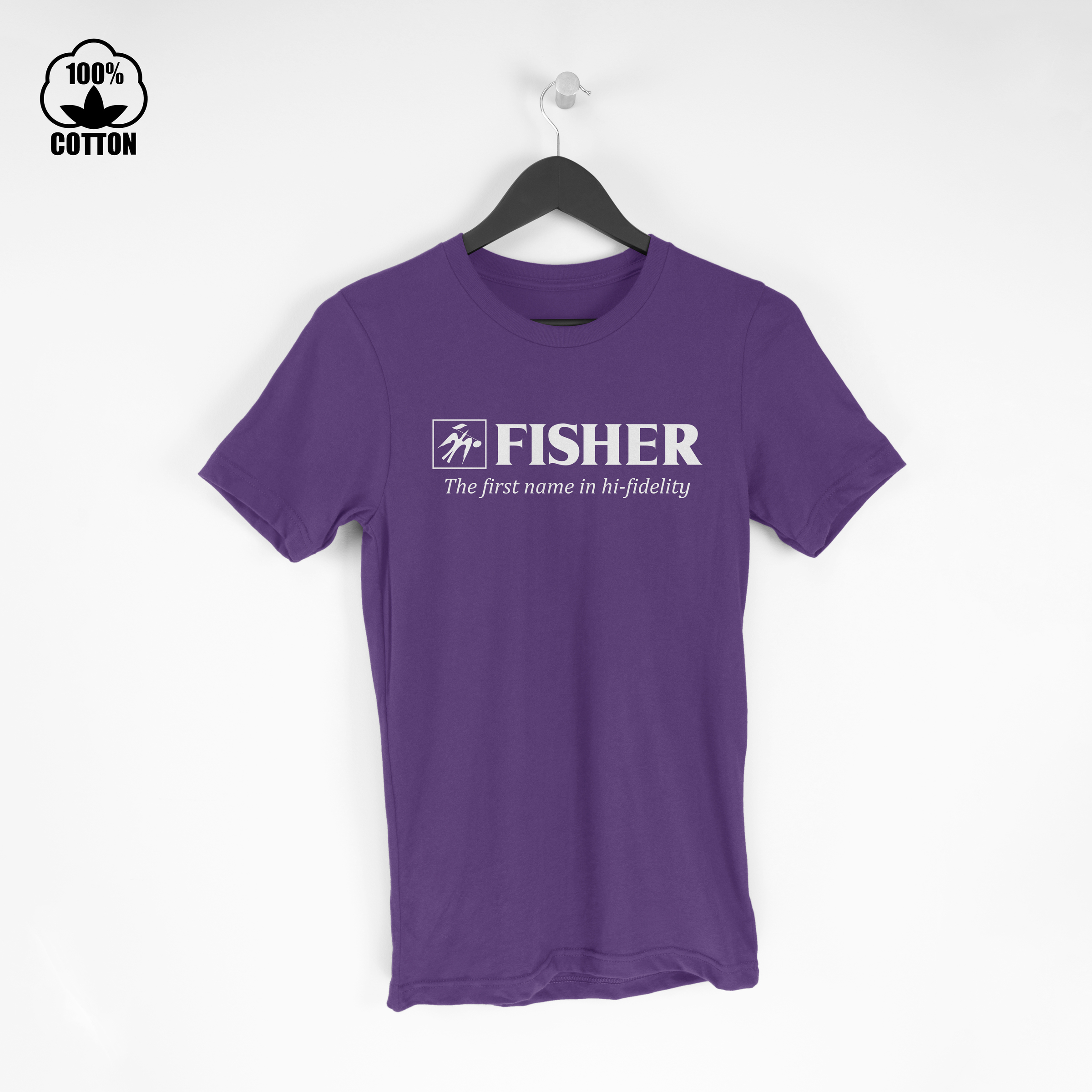 Fisher Logo Electronics Audio Stereo Components Hi-Fi Amplifier Tuner  Tshirt Size M-XXL USA BlueViolet.jpg