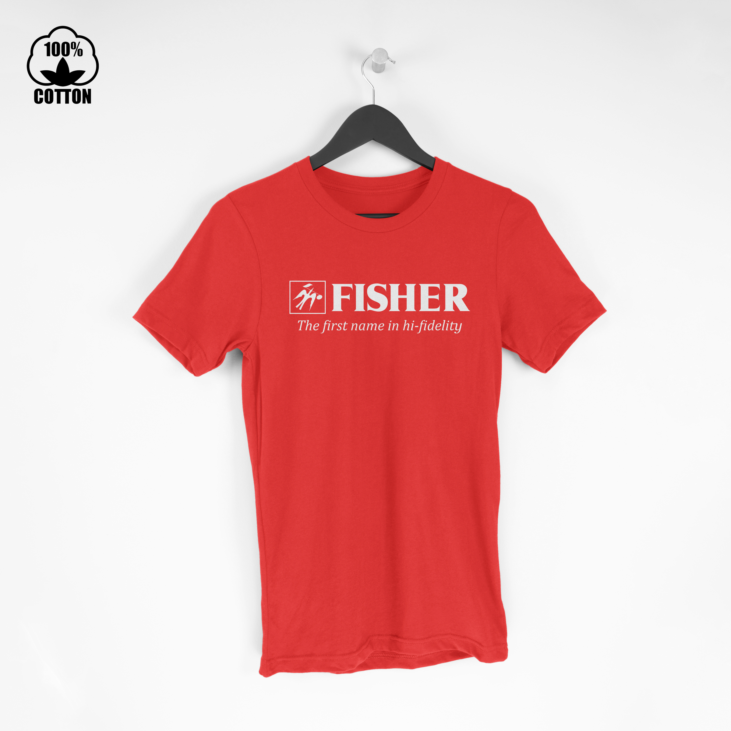 Fisher Logo Electronics Audio Stereo Components Hi-Fi Amplifier Tuner  Tshirt Size M-XXL USA Crimson.jpg