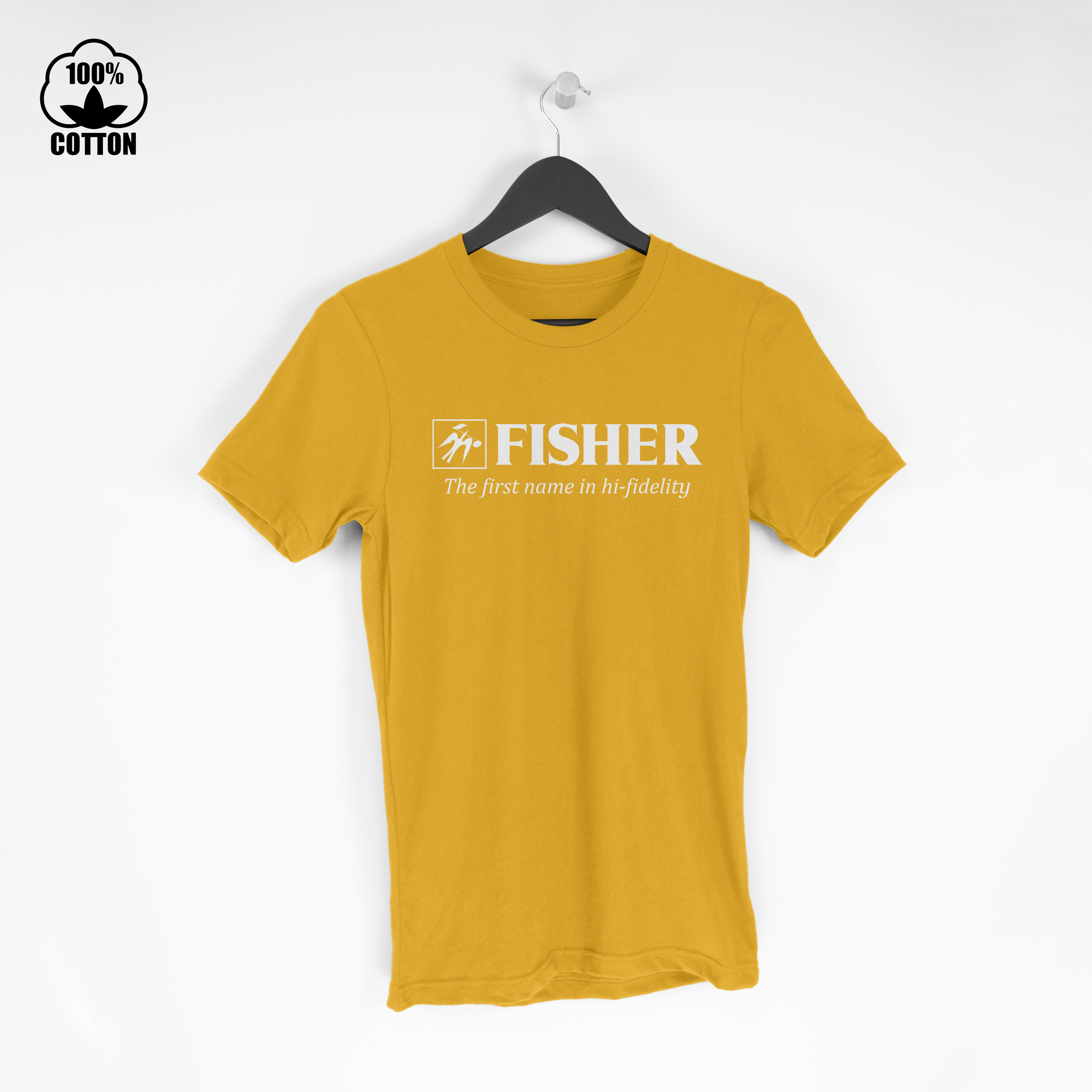 Fisher Logo Electronics Audio Stereo Components Hi-Fi Amplifier Tuner  Tshirt Size M-XXL USA Gold.jpg